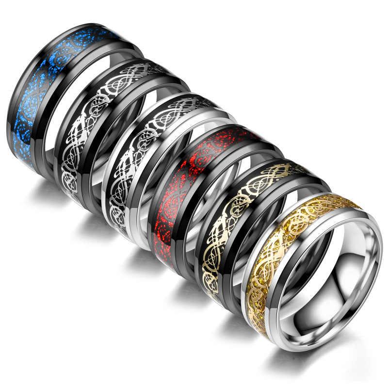 แหวนผู้ชายเครื่องประดับสีแดงสีฟ้าสีดำ Dragon Inlay Comfort Fit แหวนสแตนเลสผู้ชายแหวนกว้าง 8 มม.