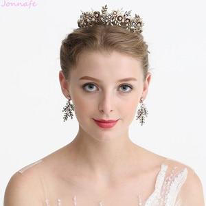 Image 4 - Jonnafe Cổ Vàng Hoa Cô Dâu Mũ Trụ Lá Đầu Cưới Tiara Tóc Cây Nho Phụ Kiện Handmade Nữ Tóc Trang Sức