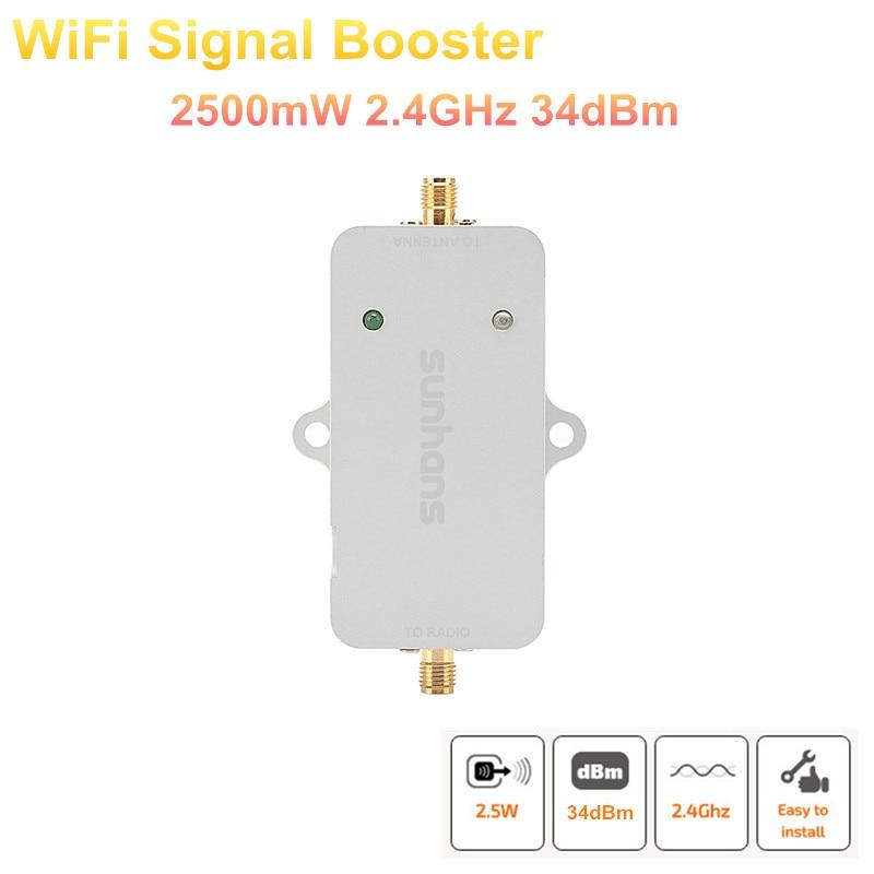 2 pçs lote genuíno sunhans 2500 mw (34dbm) 802.11b g n 2.4 ghz wifi signal  booster wi-fi amplificador repetidor c3066b054d