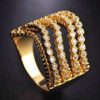 Unique Cubic Zircon Rings Gold Color Unisex Four Layers Wide Ring Anillos Valentine S Day Gift
