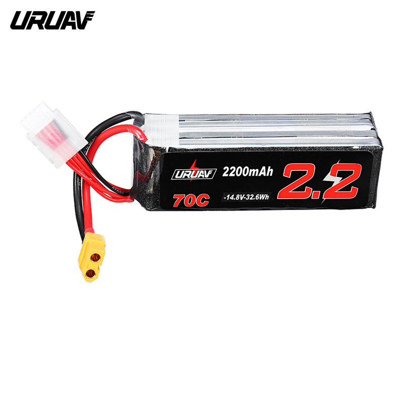URUAV <font><b>14.8V</b></font> <font><b>2200mAh</b></font> 70C 4S Lipo <font><b>Battery</b></font> Rechargeable W/ XT60 Plug Connector for Eachine Fury Wing Airplane Feilun FT011 Parts image