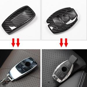 Image 2 - Real Carbon fiber Car Key Shell Cover Trim For Mercedes benz W222 S Class E Class W213 C Class w205 GLC X253