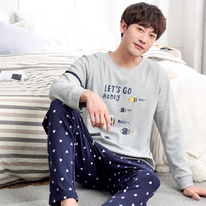 Men 2019 spring and autumn Korean large size youth pajamas new cotton long sleeve cotton winter suit pajama sets men pajamas(China)