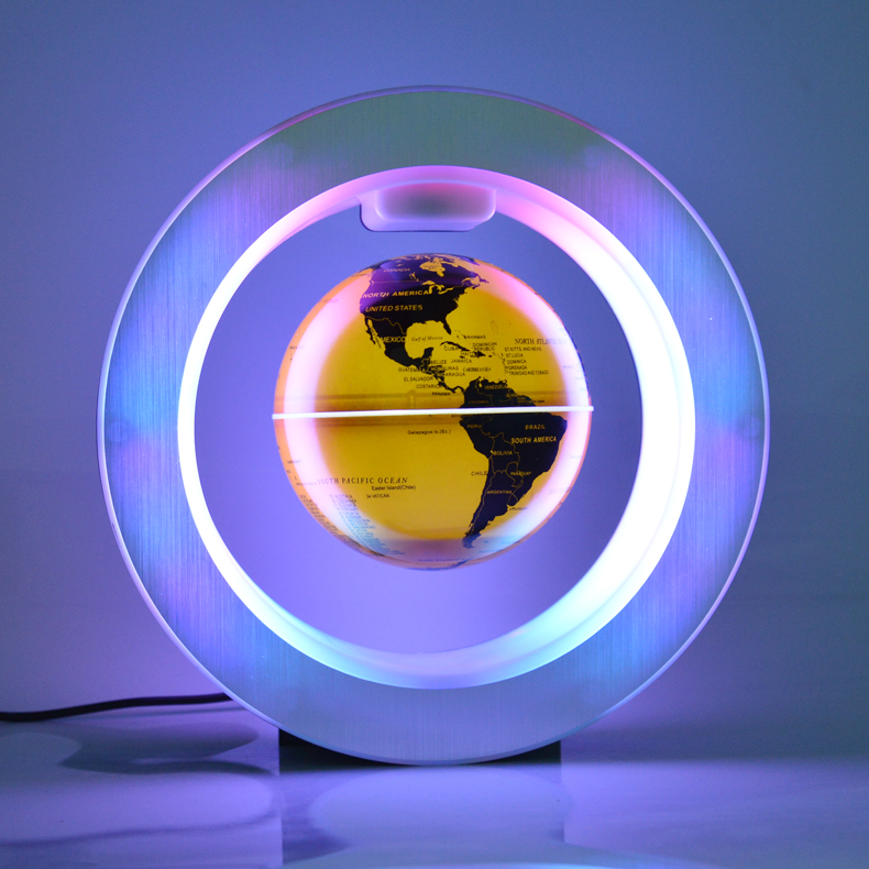 English 22CM brighten World Map Novelty Magnetic Levitation Floating Globe Tellurion With LED Light Decoration Office Ornament