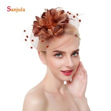 Artificial Flowers Small Hats Wedding Accessories for Bridal Beaded Tulle Charming Party tocado novia H166