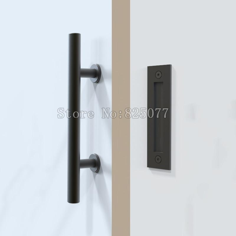 1PCS Black Stainless Steel Barn Door Handle Sliding Wood door handle barn door pull ED49 entrance door handle solid wood pull handles pa 377 l300mm for entry front wooden doors