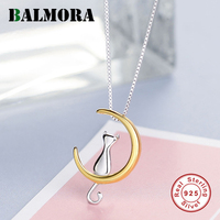 BALMORA 925 Sterling Silver Cat Pendant Necklaces For Women Lady Gift Cute Fashion Chokers Necklace Jewelry