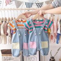 Toddler Boys Clothes Set Fashion Summer Colorful Striped T shirt+Jeans Bib Pants Children Clothing Sets For 1 5Yrs Kids Sets