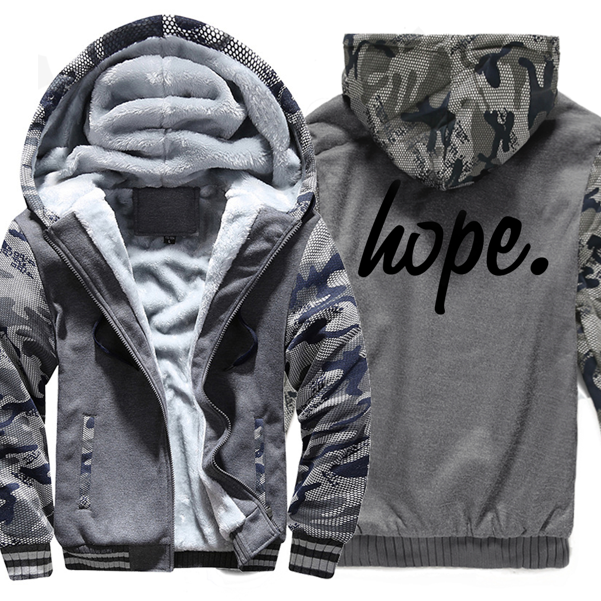 HOPE.Fashion Hoodies Men 2019 Hot Brand Print Camouflage Sweatshirt Winter Fleece Thick Hoodie Harajuku Tracksuits Hip Hop