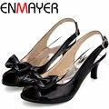 Enmayer гладиатор сандалии женщин большого размера 34 - 45 Новый стиль лакированной кожи на высоких каблуках сандалии для женщин мода обувь 6 цветов