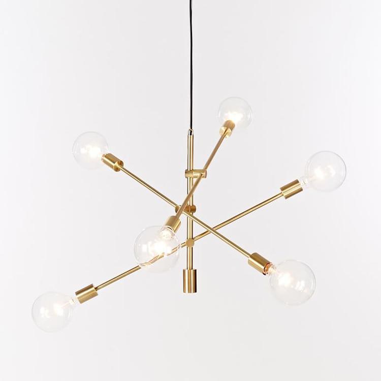 Nordique rotatif plafond suspendu lustre lampe LED or noir designer chambre poste moderne simple suspension lampe LED