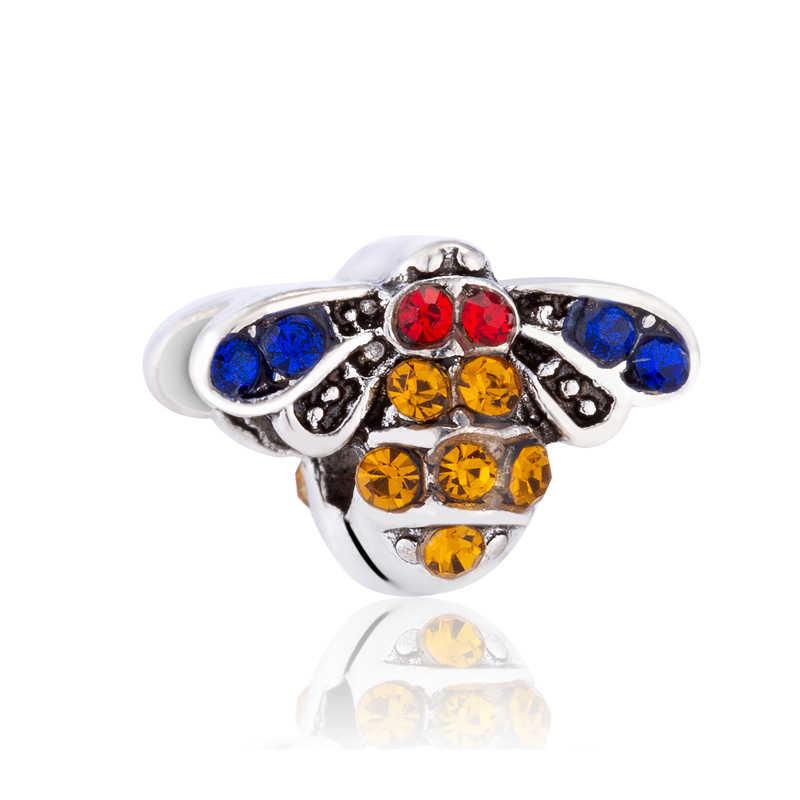 Lindo Pequeno Rainbow Berinjela Cruz Abelha Corações Esmalte Beads Fit Pandora Encantos Pulseiras Originais DIY Trinket para As Mulheres Presentes