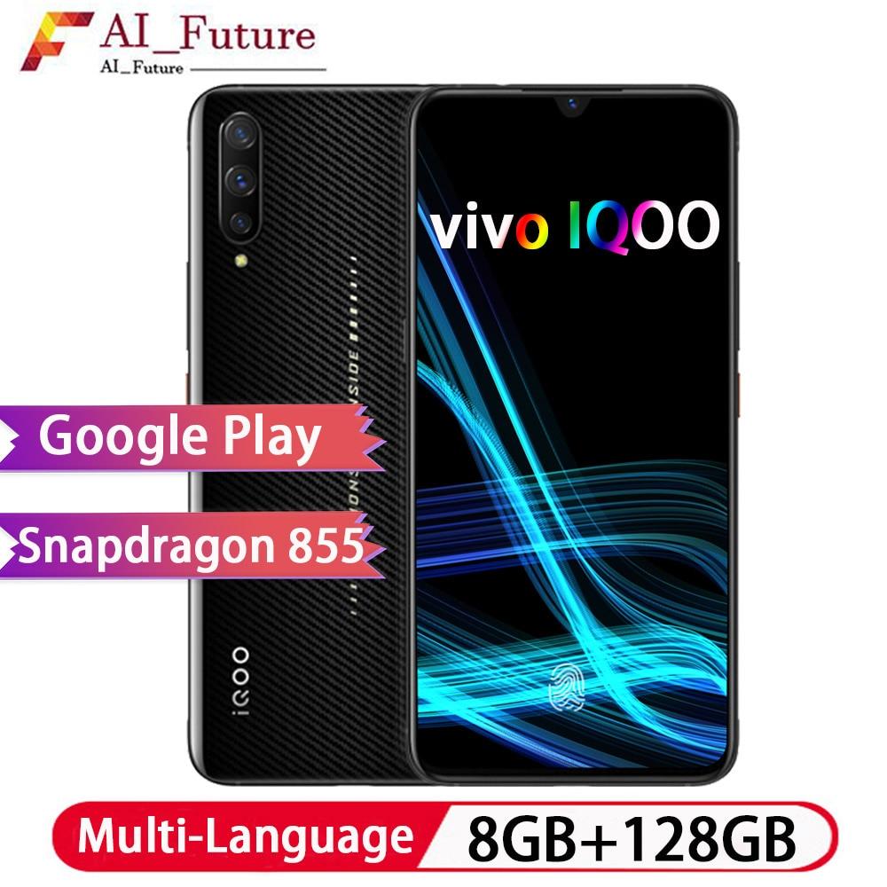 D'origine VIVO IQOO 8 GB 128 GB NFC Smartphone Snapdragon855 Octa Core COOL 4D jeu téléphone portable Android 9 4000 mAh 44 W charge rapide
