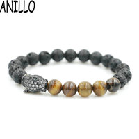 ANILLO Micro Pave Men CZ Leopard Head Bracelet Natural Lave Tiger's Eye Stone 8 Mm Charm Copper Beaded For Women Jewelry