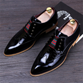 Genuine leather New men's pointed fashion casual shoes flat British style retro carved Bullock flats red blue wedding shoes us 9