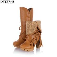 QZYERAI Winter high heel warm medium tube women snow boots fashionable women shoes lambs hair to