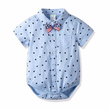 2019 Brand Baby Boy Clothes Cotton Summer Newborn Gentleman Collar Tie Pure Tops Shirt Blue Short Sleeves