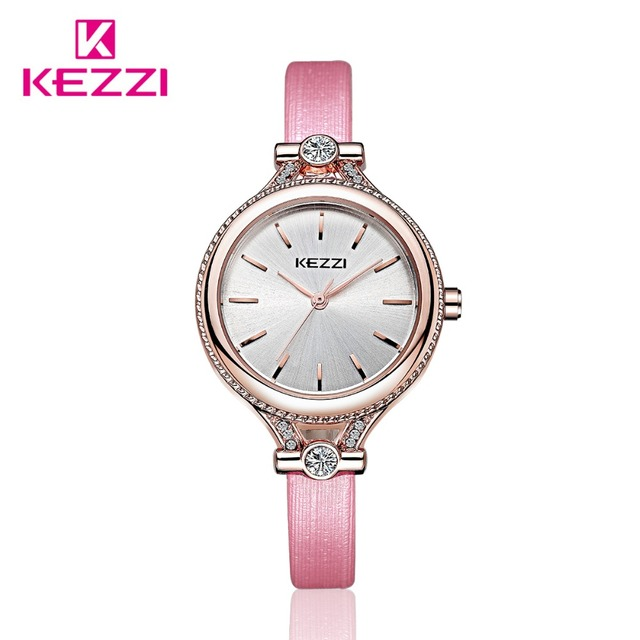 2016 New Fashion Top Luxury Women Dress Watches Lady Leather Rhinestone Quartz Watch Women Wristwatches Horloge Dame KEZZI Brand