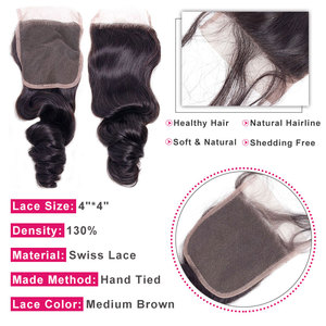 Image 3 - Bling Hair Brazilian Loose Wave Closure with Baby Hair Remy Human Hair Lace Closure 4x4 Middle/free/three Part Natural Color