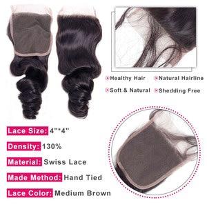 Image 3 - בלינג שיער ברזילאי Loose גל סגירה עם תינוק שיער רמי שיער טבעי תחרת סגר 4x4 התיכון/משלוח/ שלושה חלק צבע טבעי