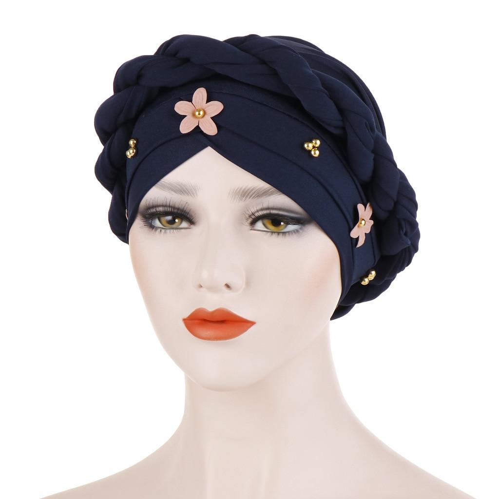 Hot DealsTurban Hat Hijab Hair-Accessories Head Scarf Muslim Fashion Women Braid-Knot for Lady