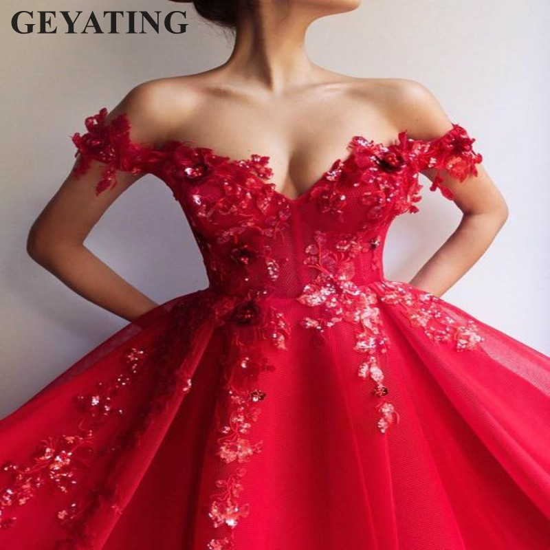 Red Ball Gown Dresses: Arabic Off The Shoulder Red Ball Gown Evening Dress Long