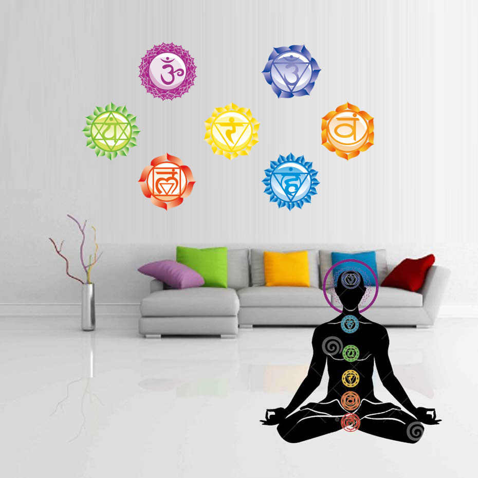 7PCS/Set 13X13CM Chakras Wallpaper Stickers Mandala Yoga Om Meditation Symbol Wall Decal Chakra Home Wall Decor Decoration Wall