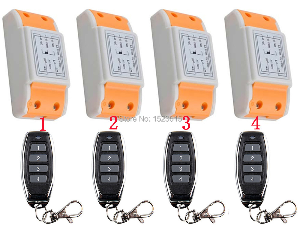 New 220V 1CH Wireless Power Switch System 4 Receiver&4Transmitter Remote Controller 10A output state is adjusted new restaurant equipment wireless buzzer calling system 25pcs table bell with 4 waiter pager receiver