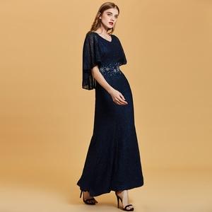 Image 3 - Dressv dark navy long evening dress cheap scoop neck beading wedding party formal dress embroidery mermaid evening dresses