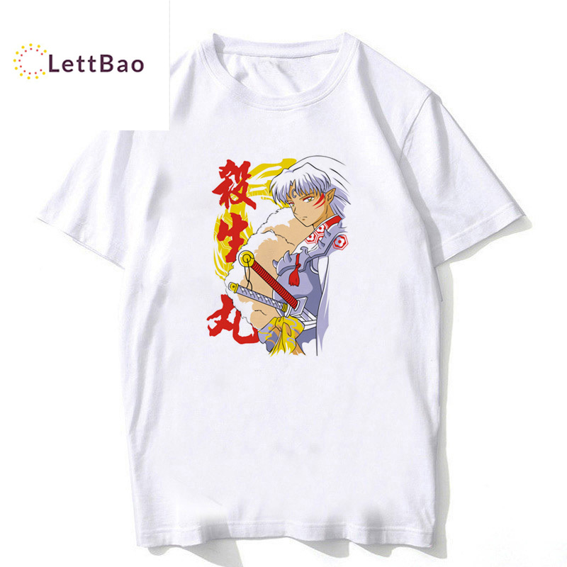 Inuyasha Classic Anime Sesshomaru Adult T Shirt Men Cartoon Print White Cotton Tshirt Men Unisex New Fashion Tee Shirt Homme