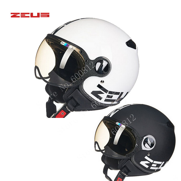 White Black DOT ZEUS ZS-210c half face motorcycle helmet , motorbike moto motocross helmets for women and men scoote dirt bike
