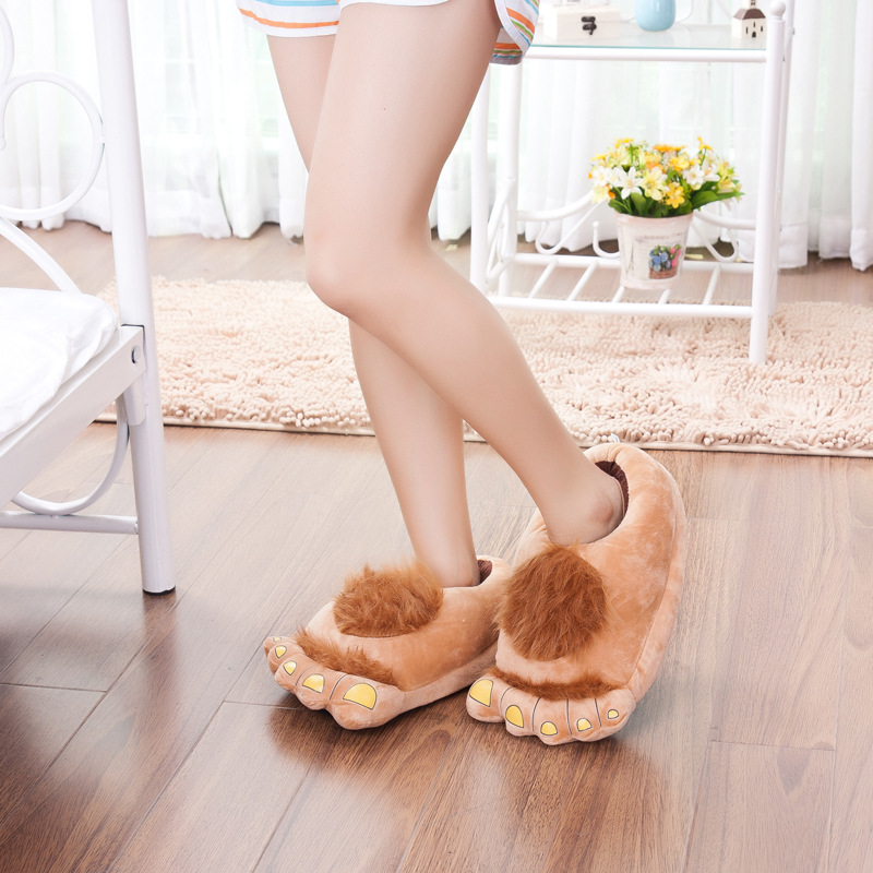 d870d6ce1584b Furry Adventure Warm Slippers cute Big Hairy Unisex Savage Monster Hobbit  Feet Plush Home Slippers Halloween Indoor shoes