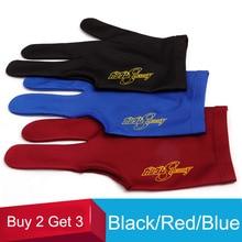 Хорошая эластичность три пальца бильярдные перчатки снукер перчатки красный/синий/черный бильярдные аксессуары купить 2 получить 3 китайские