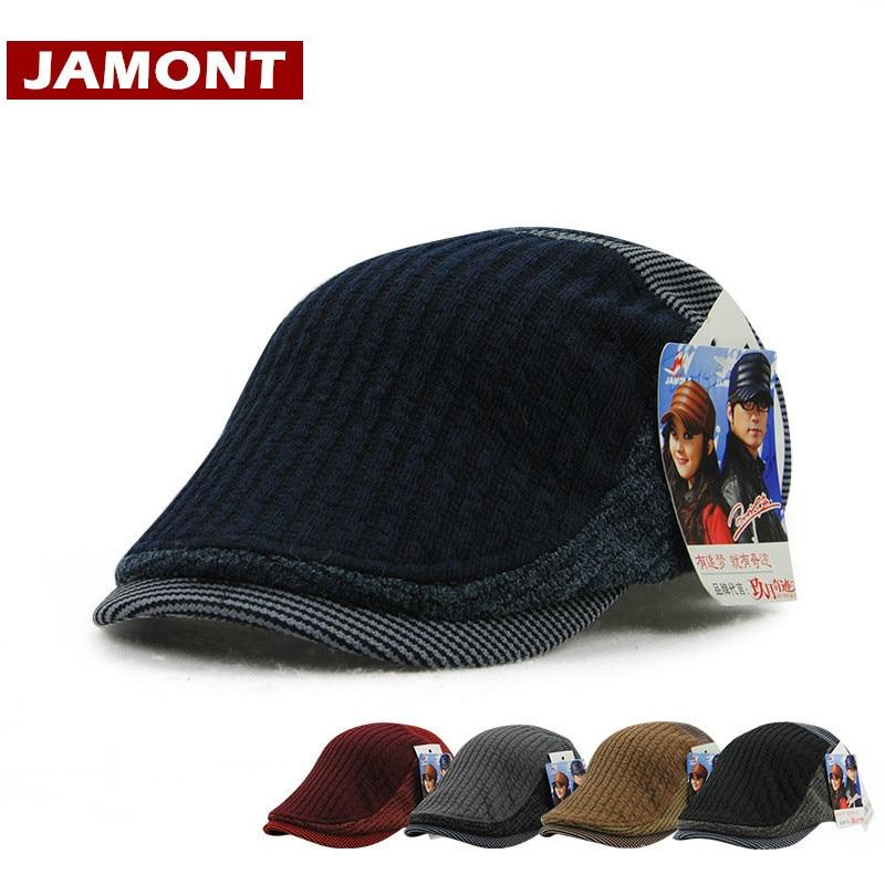 Cap Men Berets JAMONT Knitted-Hats Warm Winter Fashion Men's Visor Gorra Casquette England-Style