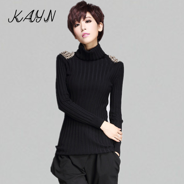 European stations Luxury Women Sweaters Pullovers Autumn Winter Fashion Rivets Turtleneck Female Top Sweater MZ1071 - KAYN Boutique Clothing store