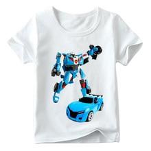 Children car T-shirt Cool T shirt Boys Tobot Print Funny Kids Summer Short Sleeve Tops  Soft Casual Fashion 6T7T8T