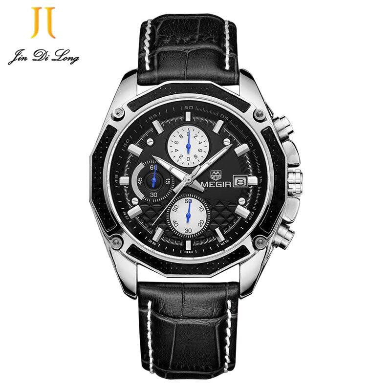 2*#Relogio Masculino 2017 Megir High Quality Mens Watches Top Brand Luxury Quartz-Watches Male Clock Men Chronograph Wrist Watch