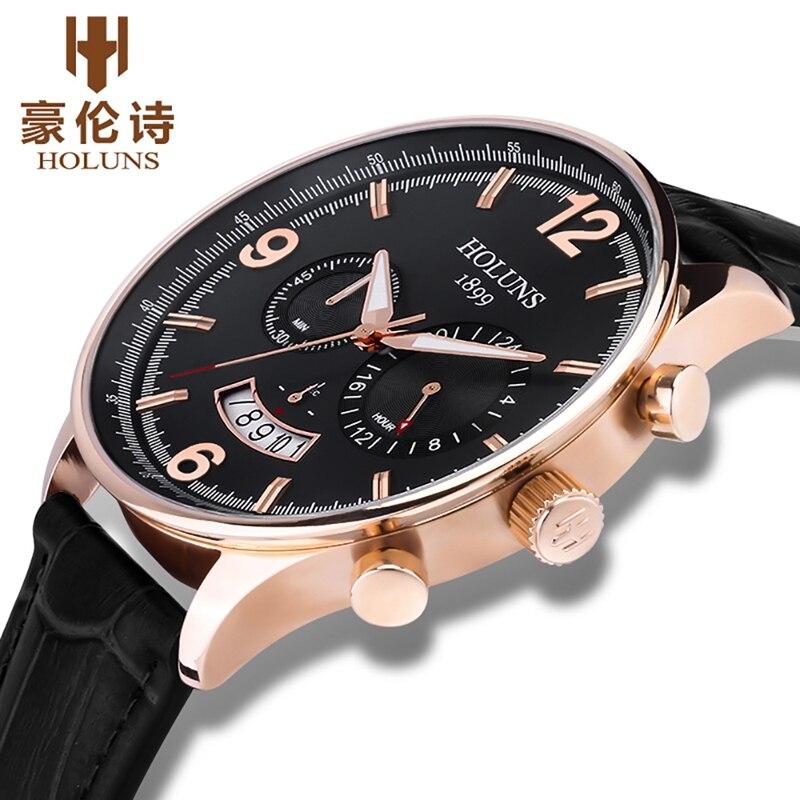 HOLUNS Men's Luxury Watch Men Quartz Clock Male Leather Sport Quartz Chronograph Military Wrist Watch for Men Relogio Masculino цена и фото