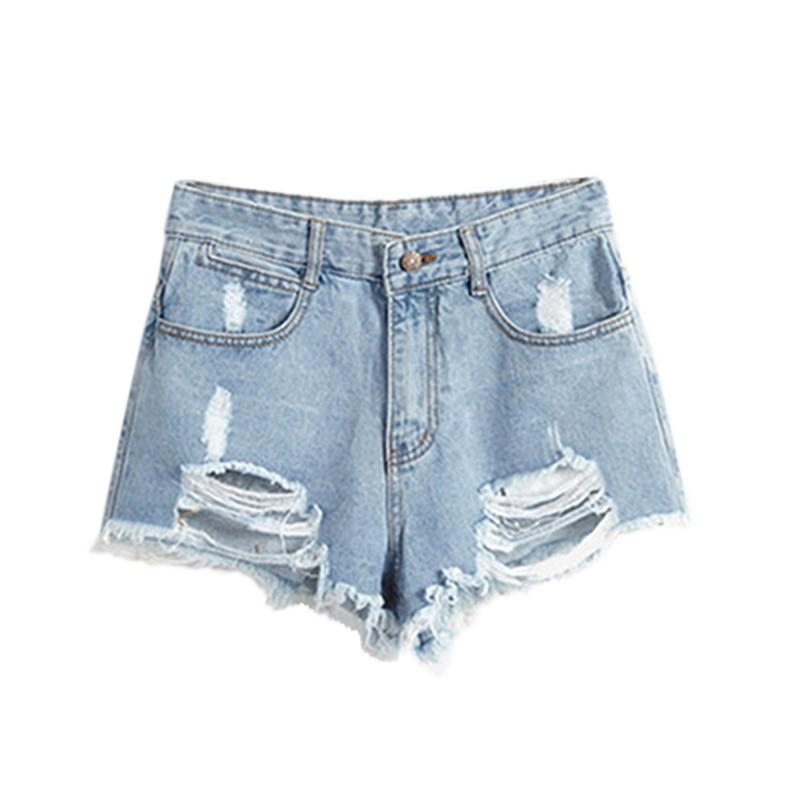European American Summer Wind Female Blue High Waist Denim Shorts Women Worn Loose Burr Hole ...