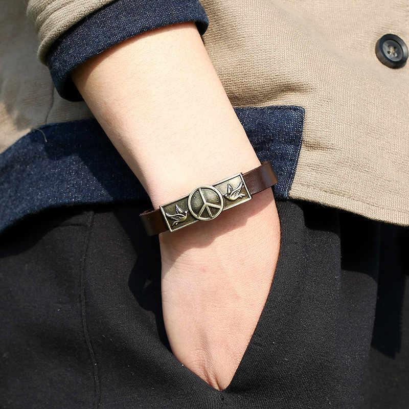 SOHOT Hợp Thời Trang Chim Bồ Câu Dấu Hiệu Hòa Bình Friendship Bracelet Trang Sức Da Chính Hãng Màu Đồng Cổ Phụ Kiện Pulsera Bracciale