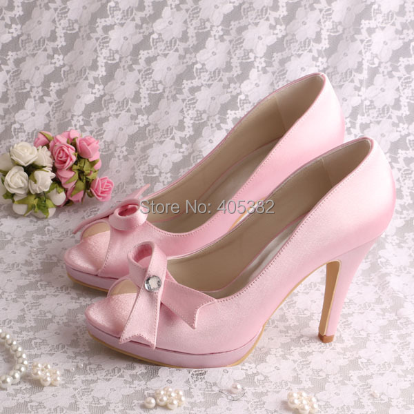 (20 Colors)Customized Ladies Light Pink High Heel Shoes Bride with Bowknot Large Size