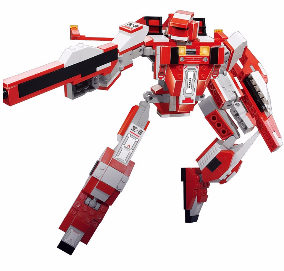 Sluban Deformable Aircraft Red Spider Robot Building Blocks Educational Toys For Children DIY Compatible With Legoe Particles decool 3114 city creator 3in1 vehicle transporter building block 264pcs diy educational toys for children compatible legoe