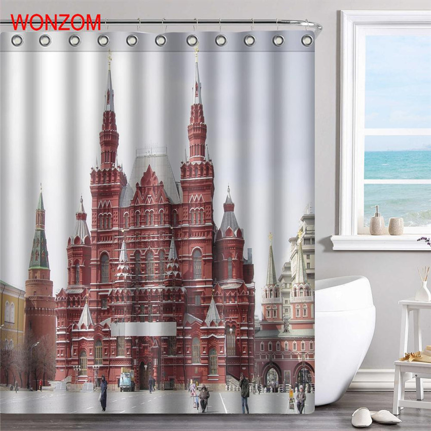 WONZOM Palace Polyester Fabric Bridge Shower Curtain Bathroom Decor Landscape Waterproof ...