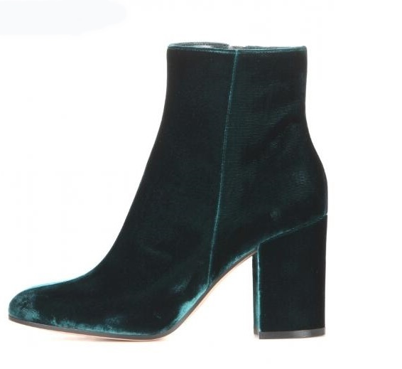 Velvet Round Toe Woman Ankle Booties Autumn Winter Chunky Heels Fashion Blue Green Side Zipper High Short Boots