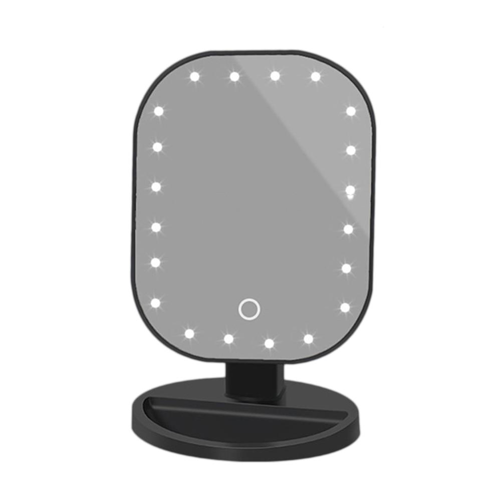 1 шт., светодиодный сенсорный экран, зеркало для макияжа, косметическое зеркало, косметическое зеркало для рук, для спальни, дома, без батареи - Цвет: Черный