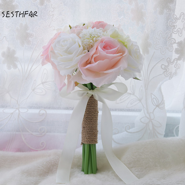 Silk Flowers Wedding Bouquets.Us 18 99 Bridal Holding Flowers Wedding Bouquet Bridesmaid Small Bouquet Artificial Flowers Bridal Bouquets Fast Shipping In Wedding Bouquets From