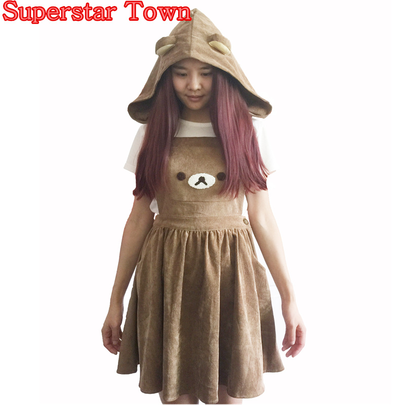 اليابانية kawaii rilakkuma اللباس لطيف الدب التطريز لوليتا عموما قبعة الكرة ثوب المتناثرة لوليتا اللباس