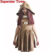 Japonais Kawaii Rilakkuma Robe Mignon Ours Broderie Lolita Globale Chapeau Boule Robe Harajuku Lolita Robe