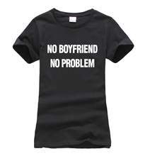 2016 summer NO BOYFRIEND NO PROBLEM letters printed women T-shirt fashion harajuku brand tee shirt femme funny unicorn punk tops
