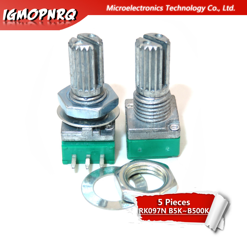 5pcs 3pin RK097N B5K B10K B20K B50K B100K Single Linked Potentiometer Audio Potentiometer Handle 15mm 5K 10K 20K 50K 100K